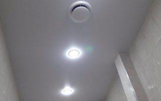 Матовый натяжной<br /> потолок в ванную S=4.5м2